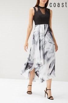Coast Black Riona Print Jacquard Dress
