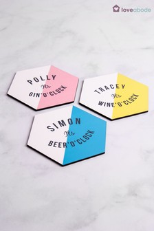 Personalised Hexagon Alcohol Coaster by Loveabode
