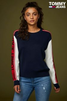 Tommy Jeans Blue Colourblock Sweater
