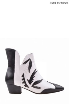Sofie Schnoor Monochrome Leather Western Ankle Boots
