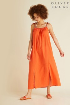 Oliver Bonas Orange Trim Tie Swing Beach Dress