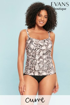 Evans Multi Dark Curve Grey Snake Print Tankini Top