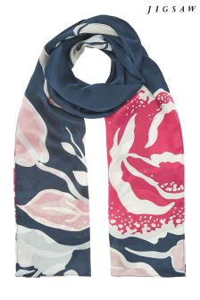 Jigsaw Multi Graphic Rose Silk Scarf