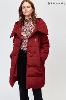 Warehouse Red Asymmetric Padded Coat