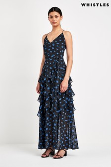 Whistles Black Daisy Maxi Dress