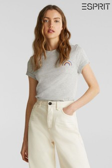 Esprit Grey T-Shirt With Small Rainbow Detail Front