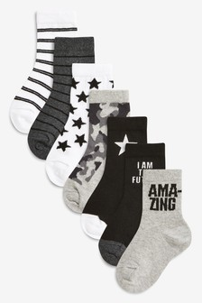 7 Pack Slogan Socks (Younger)