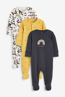 3 Pack Panda And Rainbow Embroidery Sleepsuits (0mths-2yrs)