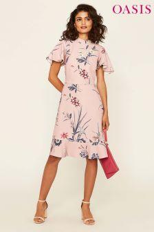 Oasis Pink Lydia Lily Print Skater Dress