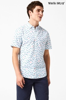 White Stuff White Flamingo Print Shirt