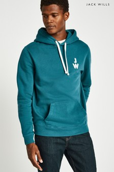 Jack Wills Teal Batsford Back Logo Pop Over Hoody