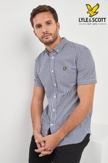 Lyle & Scott Kurzärmliges Gingham-Hemd, marineblau