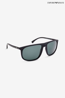 Emporio Armani Black Rubber Green Sunglasses