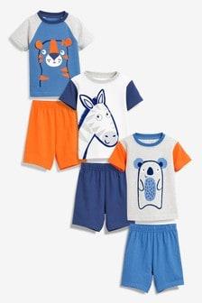 3 Pack Animal Short Pyjamas (9mths-8yrs)