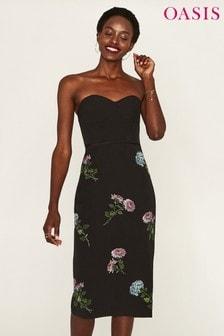 Oasis Black/Natural History Museum Corset Pencil Dress