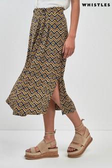 Whistles Yellow Zig Zag Print Wrap Skirt