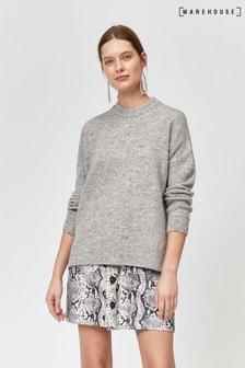 סוודר חמים של Warehouse דגם Nep בצבע אפור בהיר