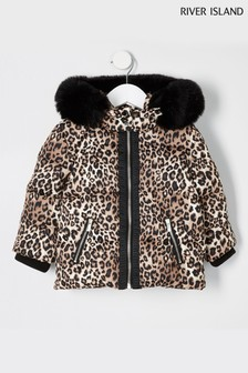 River Island Brown Leopard Print Padded Coat