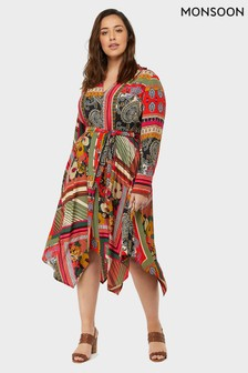 Monsoon Ladies Pink Zeeba Scarf Print Midi Dress