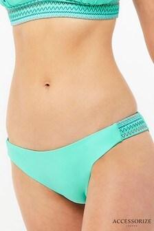 Accessorize Aqua Embroidered Smocked Bikini Brief