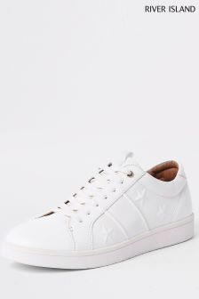 River Island White Star Embossed Trainer