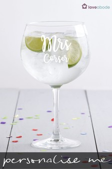 Personalised Mrs Gin Glass