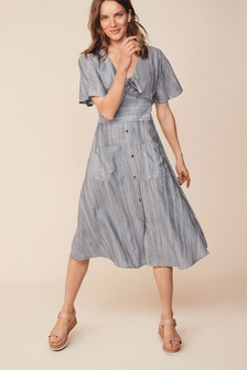 Tie Detail Midi Dress