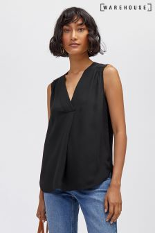 Warehouse Pleat Front V Neck Shell