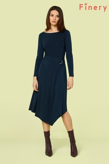 Finery London Blue Jodi Asymmetric Dress