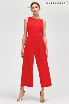 Warehouse Red Gathered Neck Jumpsuit