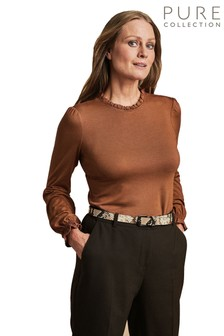 Pure Collection Brown Ruffle Detail Jersey Top