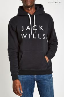 Jack Wills JW Black Batsford Back Logo Pop Over Hoody