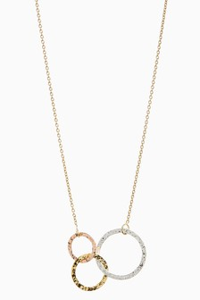 18 Carat Gold Plated Mixed Plated Circle Necklace