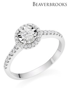 Beaverbrooks 9ct White Gold Diamond Halo Ring