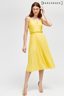 Warehouse Yellow Pleated Midi Dress