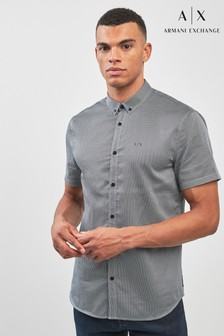 Armani Exchange Grey Micro Pattern Shirt