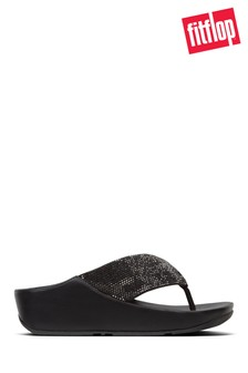 FitFlop™ Black Ruche Twist Grace Toe Post Crystal Sandal