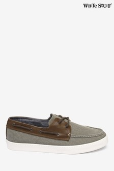 White Stuff Green Mens Boat Shoe