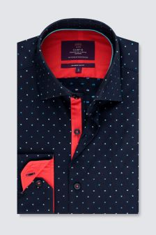Hawes And Curtis Navy/Orange Woven Design Cuff Shirt