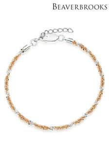 Beaverbrooks Silver And Rose Gold Plated Sparkle Cut Bracelet