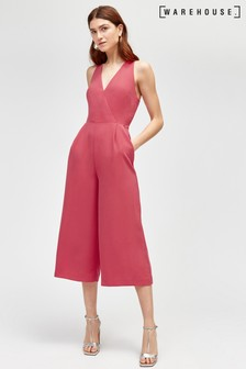 Warehouse Pink V-Neck Jumpsuit