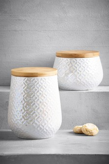 Lustre Embossed Ceramic Storage Jar