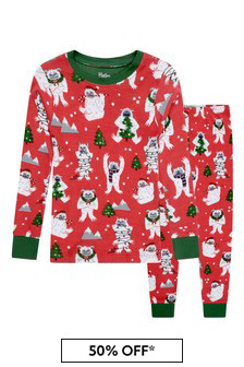 Boys Organic Cotton Red Christmas Pyjamas
