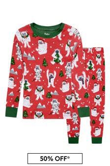 Boys Organic Cotton Red Christmas Pyjamas