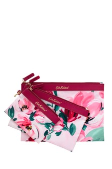Cath Kidston® Pink Paintbox Flowers Set Of Three Poly Pouches