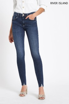 River Island Dark Blue Amelie Ernie Long Leg Jean