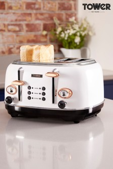 Tower White 4 Slot Toaster