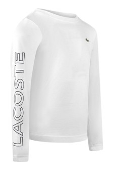 Sport Boys Cotton White Long Sleeve T-Shirt