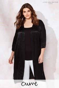 Live Unlimited Black Zebra Jaquard Kimono Jacket