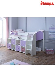 Rondo E White/Lilac Cabin Bed By Stompa